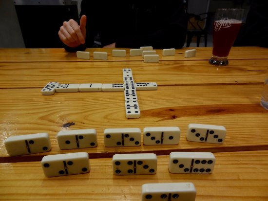Alpine, TX: playing dominos while we drink