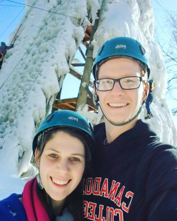 Haliburton, Canada: My girlfriend and I partaking in ice climbing.