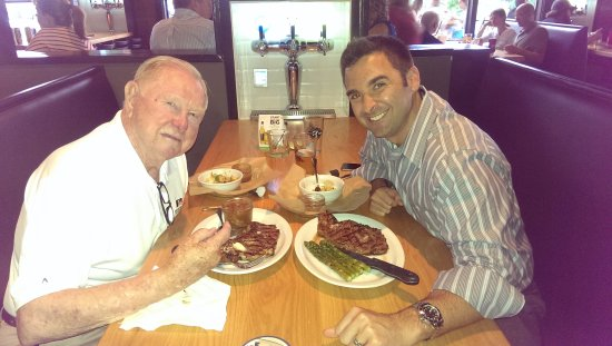 Ballwin, MO: Red getting his Ribeye!