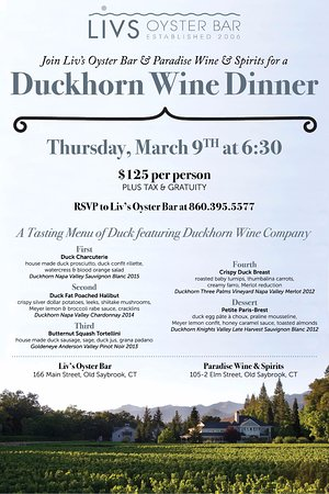 Old Saybrook, CT: Duckhorn Wine Dinner