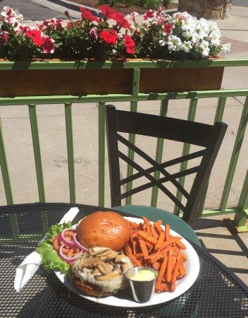 Avon, CO : Mushroom Swiss Burger with Sweet Potato Fries