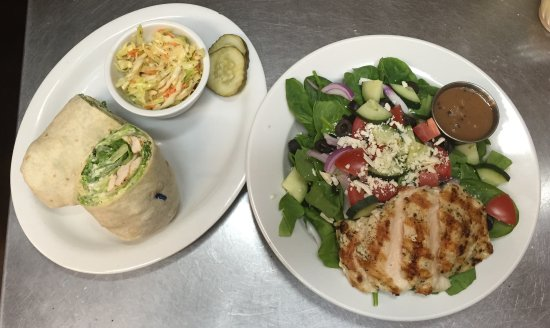 Avon, CO: Chicken Caesar Wrap and Greek Salad with Chicken