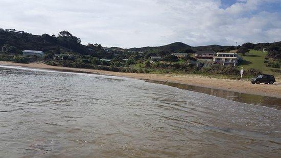 Karikari Peninsula, Nouvelle-Zélande : Beach looking towards Campsite