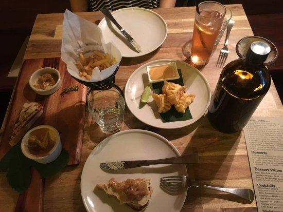 Kalamunda, أستراليا: French fres with truffle, duck parfait and jam, dumplings