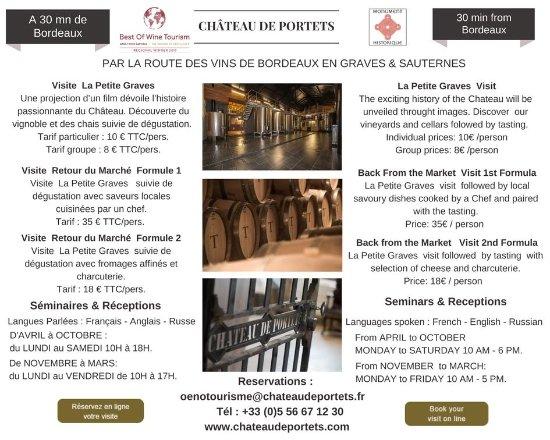 Portets, Francia: Découvrez nos formules visite et dégustation pour la saison 2017