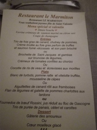 le Marmiton : menu de saint valentin 2017