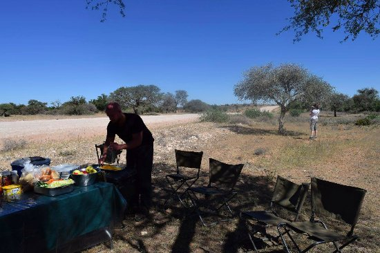 """Windhoek, Namibia: We often stopped in a shady area on the side of the road to enjoy our """"feast""""... so fun!"""
