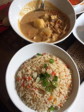 Nantwich, UK: The tasty squid massaman curry with coconut rice.
