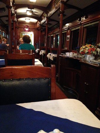 George, Sør-Afrika: Inside museum cafe dining car