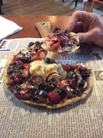 Flinders, Australia: House special dessert; ice cream, fruits, gooey toffee and more. a.k.a. Sticky Fingers