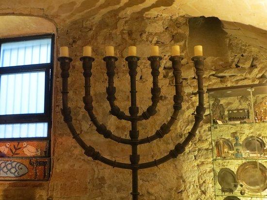 Main Synagogue: Menorah in the mian room.