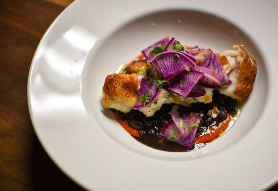 Oyster Club: Local monkfish, braised black beans, romesco, bravo radish.