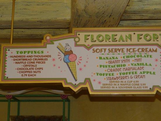 Florean Fortescue's Ice Cream Parlour: menu
