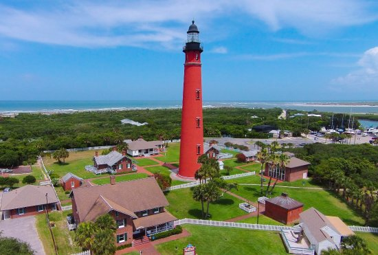 Ponce de Leon Inlet Lighthouse & Museum: Magnificent aerial view of the Ponce Inlet Lighthouse and historic keepers cottages