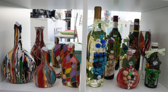 Vases And Wine Bottles Picture Of Mess Art Design Larnaca