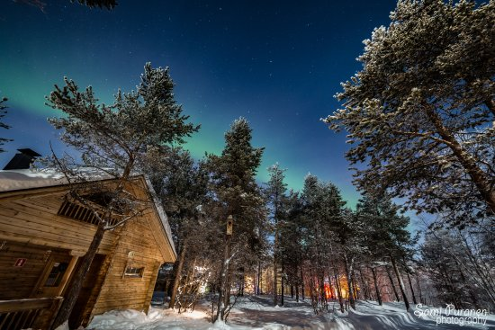 Enontekiö, Finland: Cold evening and northern lights.