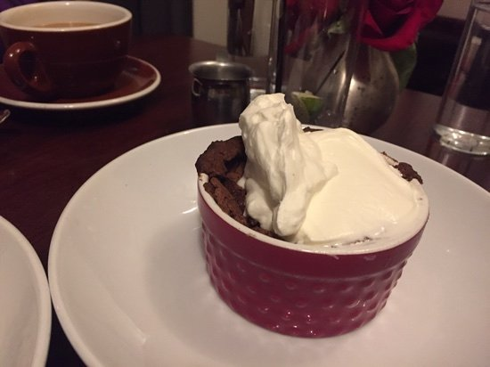 Redmond, WA: chocolate souffle with real cream