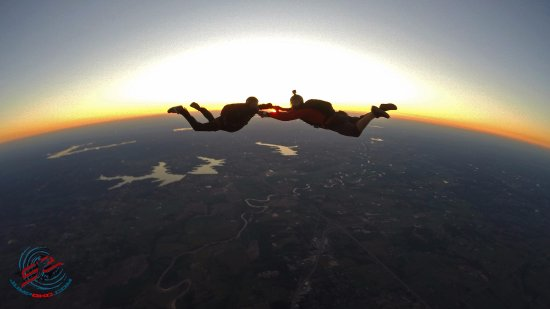 Two licensed jumpers enjoy the beautiful sunset over Shawnee, OK