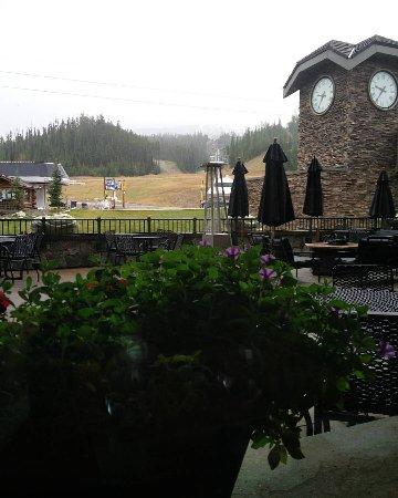 View from Big Sky resort breakfast lobby