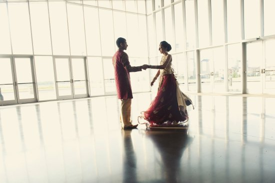 Wedding Couple in Lobby of Irving Convention Center