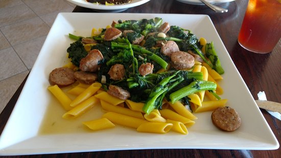 Horsham, PA: my entree of sausage and broccoli rabe over penne pasta