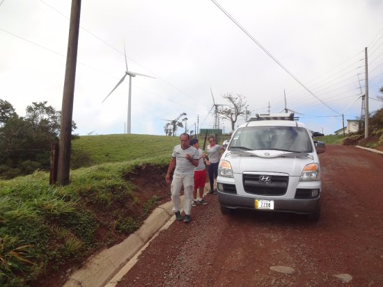 Gulf of Papagayo, Costa Rica: That's Nery by the van as we cross from the coast to Laguna Arenal on the way to La Fortuna.