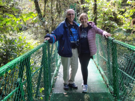 Gulf of Papagayo, Costa Rica: On one of the hanging bridges in Selvatura Park.