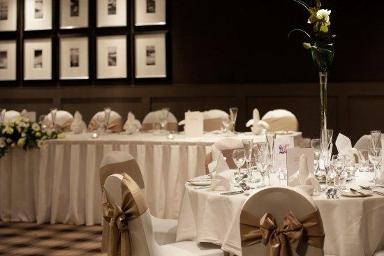 Eaglesham, UK: Banqueting Suite set for a wedding