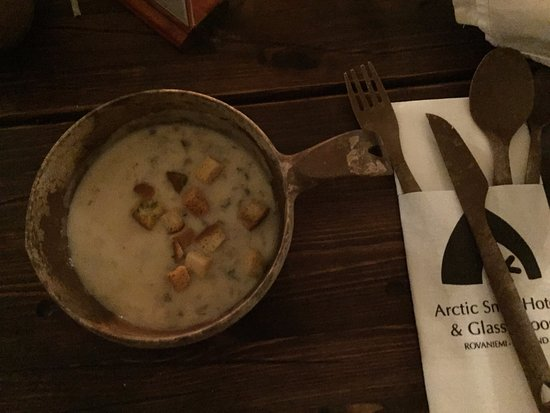 Arctic SnowHotel & Glass Igloos: Mushroom Soup at the Kota Restaurant