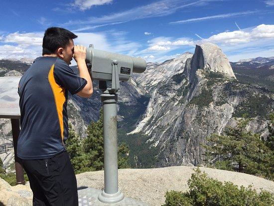 Oakhurst, CA: Tony looking at Vernal Falls and Nevada Falls from Glacier Point