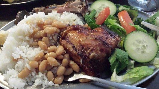 Rancho Cucamonga, CA: chicken, rice, Peruvian beans, dry salad