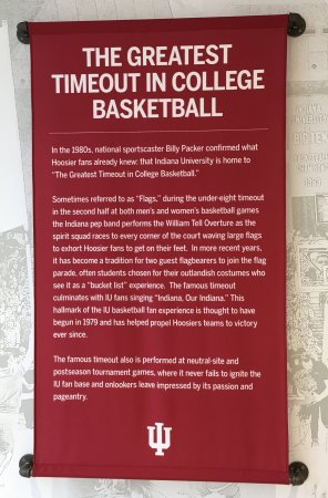Bloomington, IN: Banners hanging in lobby and big screen scoreboard over the court - Lady Hoosiers Senior night g