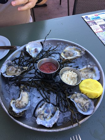 """Blossom: Absolutely wonderful mahi mahi, crab stuffed grouper, Virginia oysters, and """"Vow of silence"""" coc"""