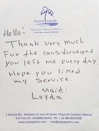 Playa Palms Beach Hotel: A note left by our maid!