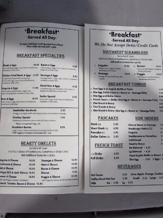 Skipper's: Breakfast Menu