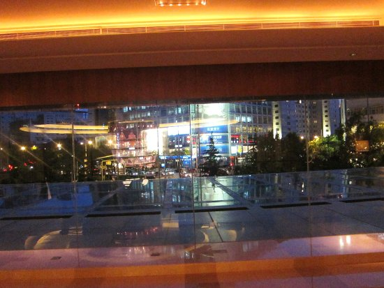 View of the city from the balcony overlooking Lobby Lounge