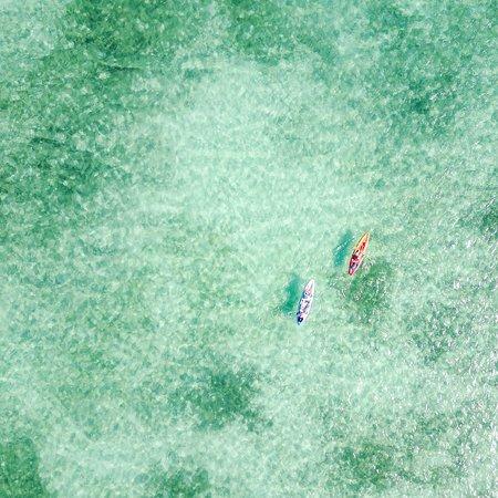 Cul de Sac, St. Maarten: Kayakers from above