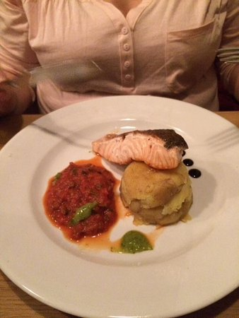 Airdrie, UK: Salmon, ratatouille, crushed new potatoes and basil veloute