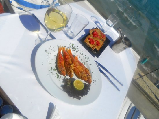 "Limni Keri, Greece: A plate full of fresh, locally caught ""Barbounia""!(complete with that view!"