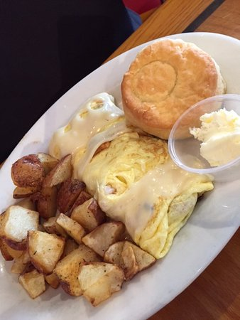 Grilled shrimp and Swiss cheese omelet