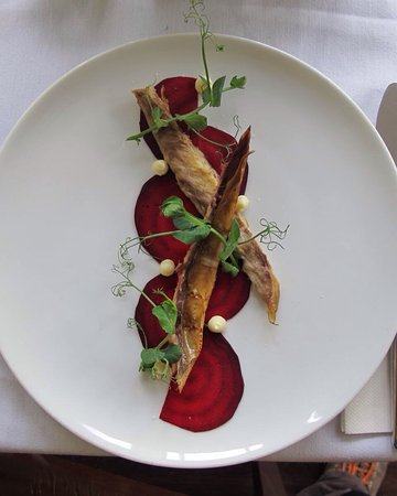 Bonchurch, UK: Beets, smoked mackerel, hoarse radish purée