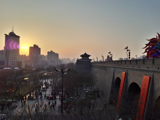 Xi'an City Wall (Chengqiang): Evening sunset