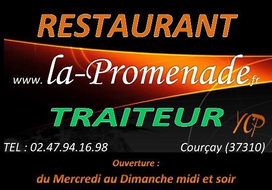 Courcay, Francia: carte de visite du restaurant la promenade
