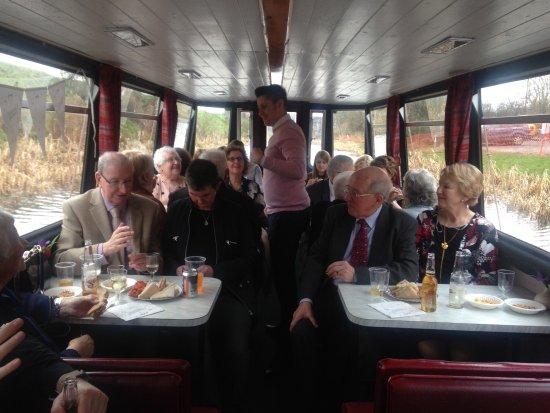 Linlithgow, UK: Celebrating on boat