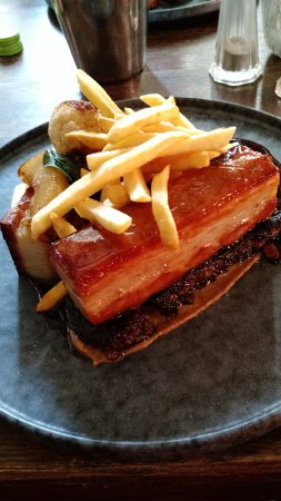 Repton, UK: Delicious Belly Pork Main with Unnecessary Skinny Fries Side!