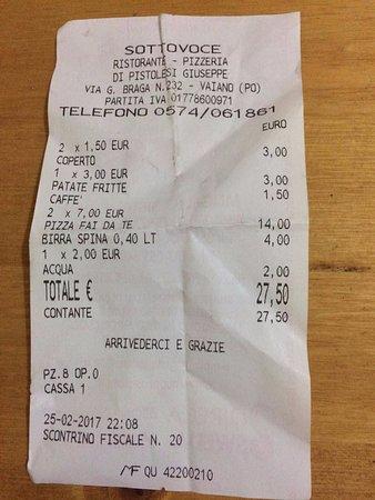 Вайано, Италия: Il totale per una cena di coppia