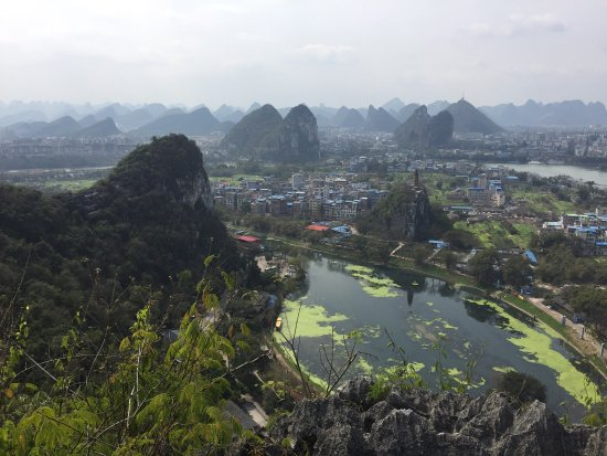 Guilin Chuanshan Scenic Resort: A beautiful view of the surrounding countryside from the top of the hills.