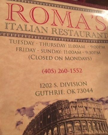 Menu Picture Of Romas Italian Restaurant Guthrie Tripadvisor