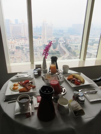 The Venetian Macao Resort Hotel: In-room breakfast while enjoying the view