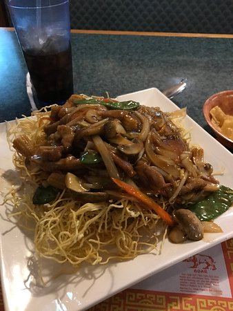 Asian House: Pan Fried noodles with pork.